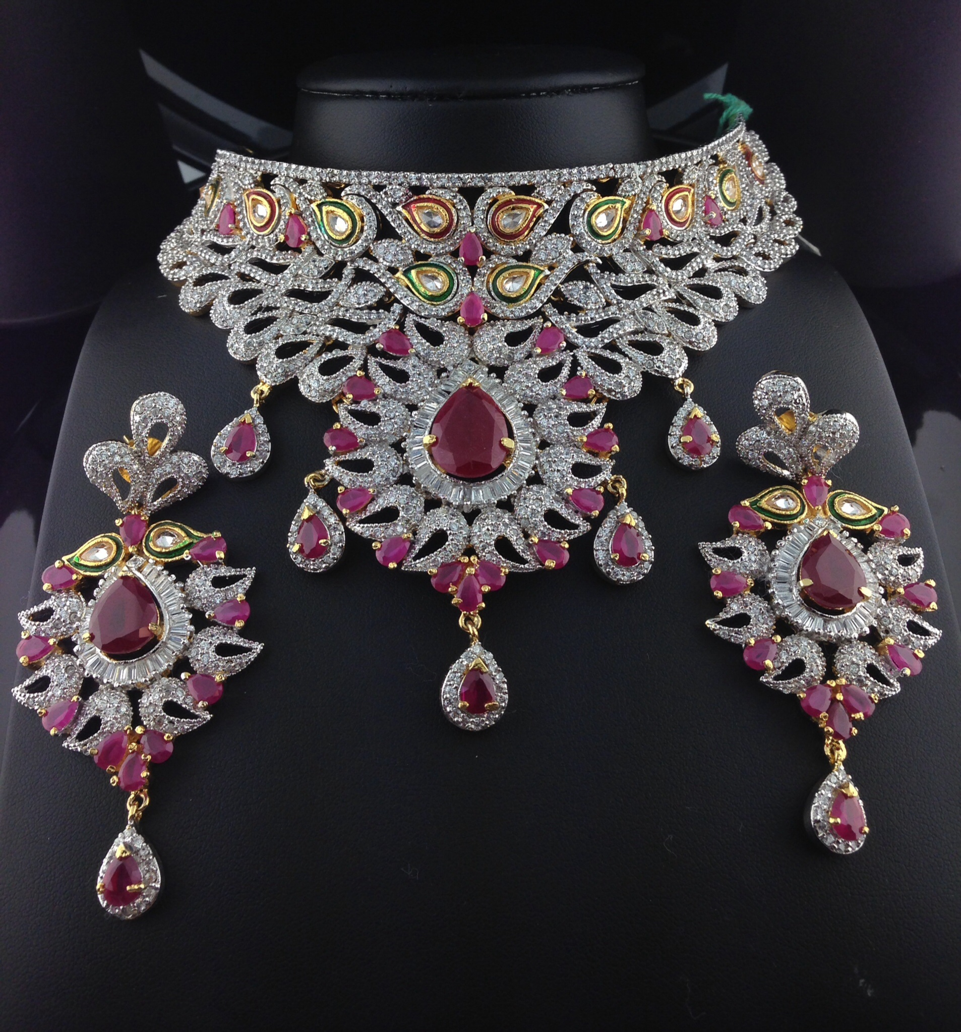 Stunning American Diamond Bridal Set With Polki Cut Rubies