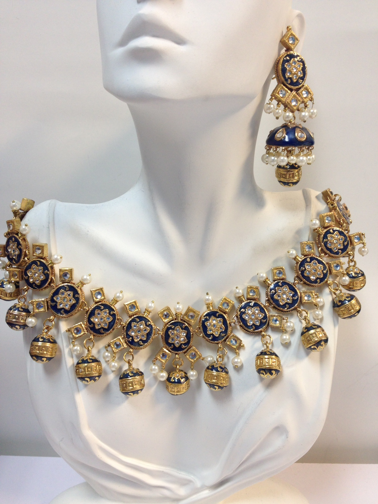 Bridal Wear Kundan Necklace Set in 22k Gold plated Zircon Pol