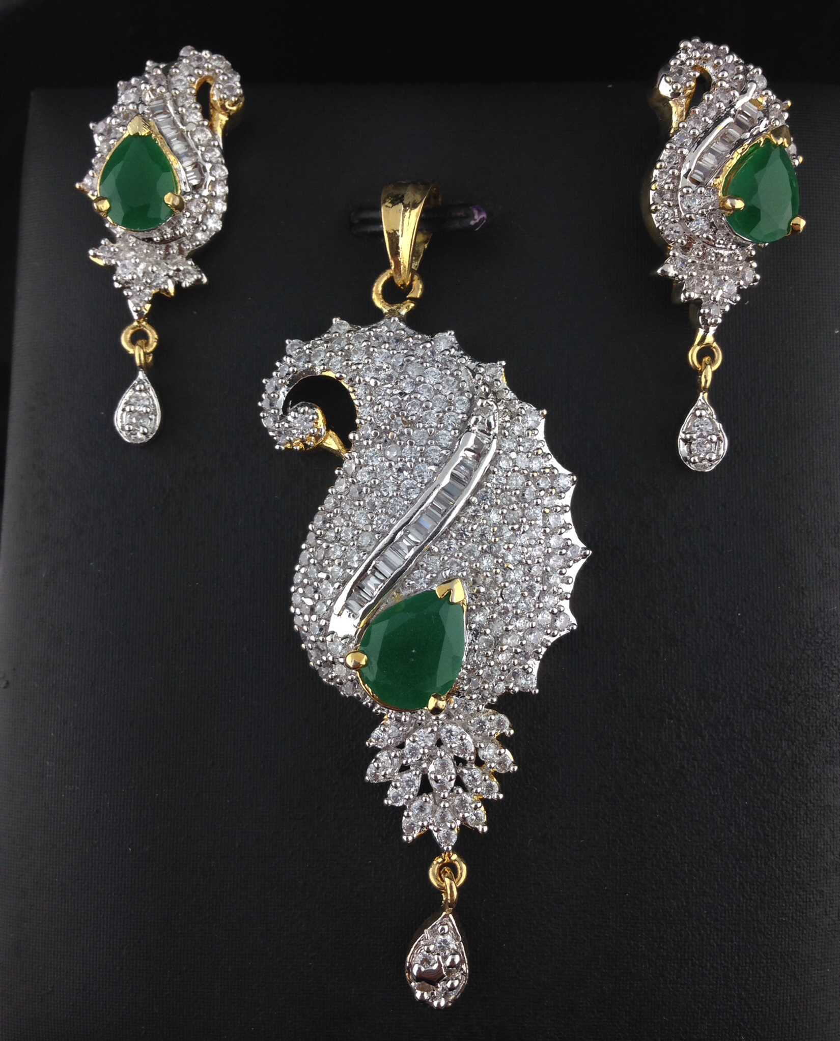 American Diamond Pendant Set With Emeralds Indian Kundan