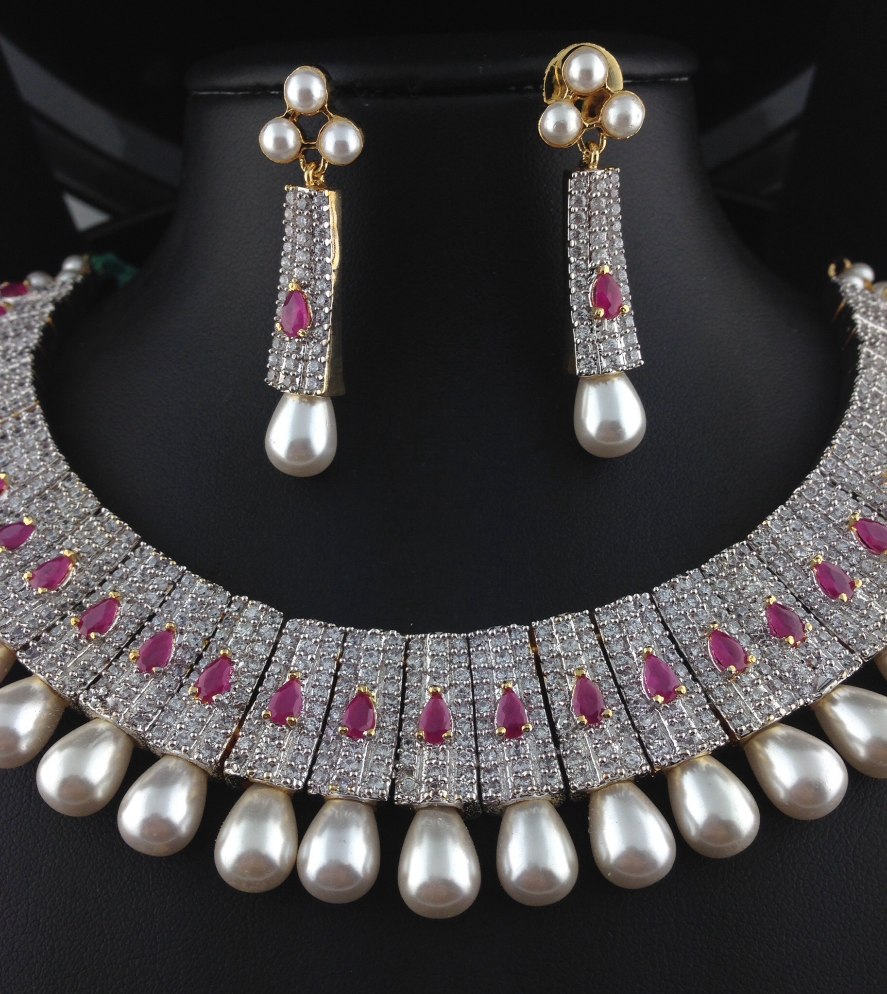 Stunning American Diamond CZ Bridal Set With Rubies and Pearls