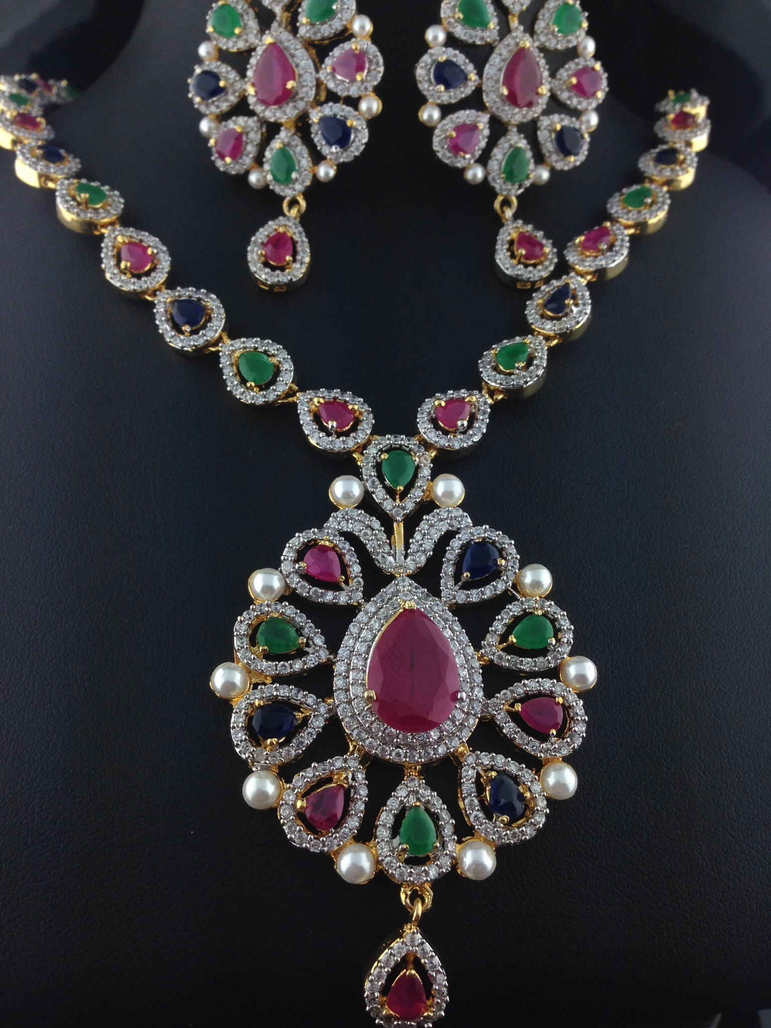 American Diamond Emerald And Ruby Necklace Set Indian