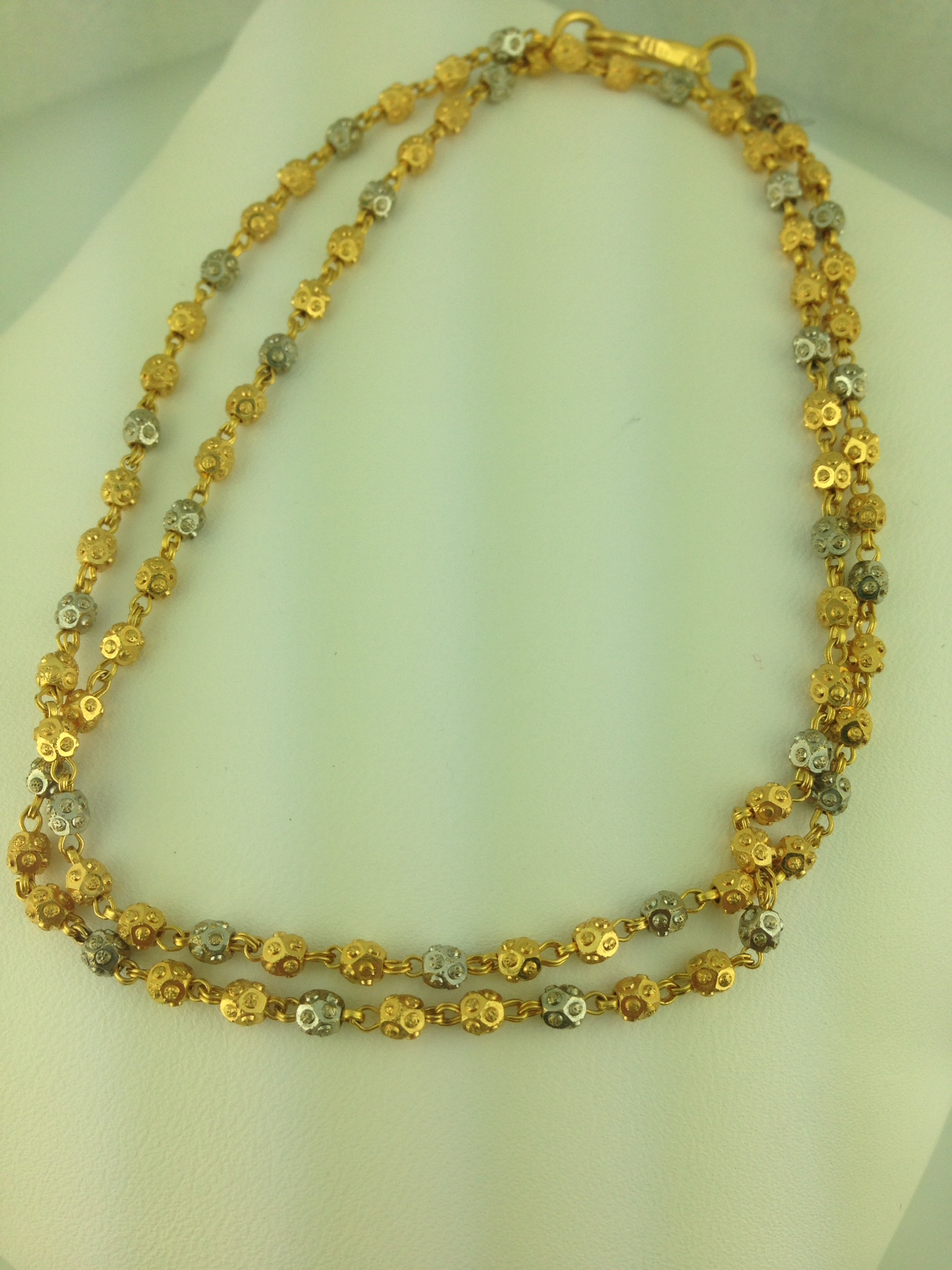 22K Two Tone Ball Chain 106 Grams Indian Kundan Islamic and