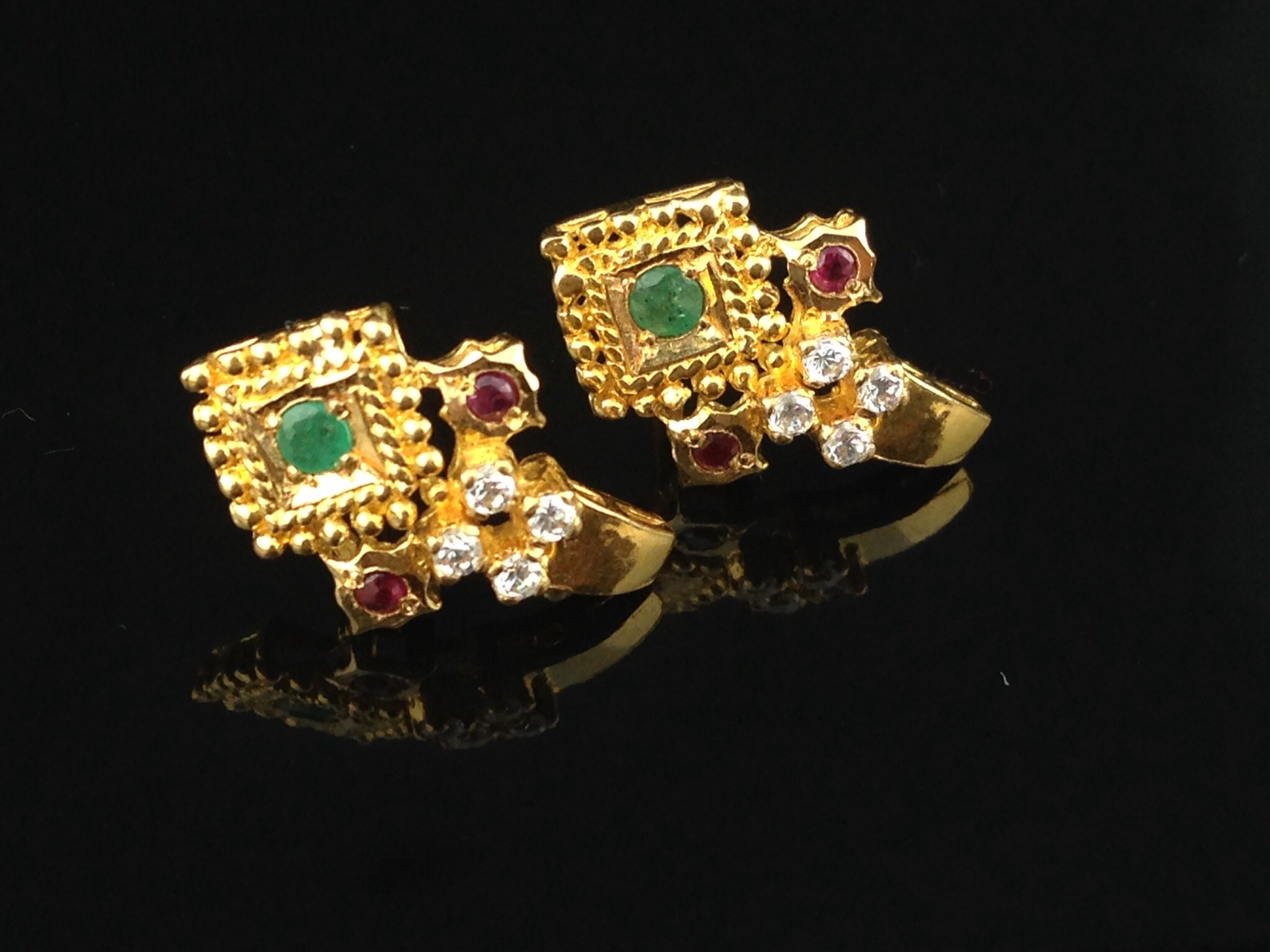 topaz gold stud with yellow blue earrings img bead product and design