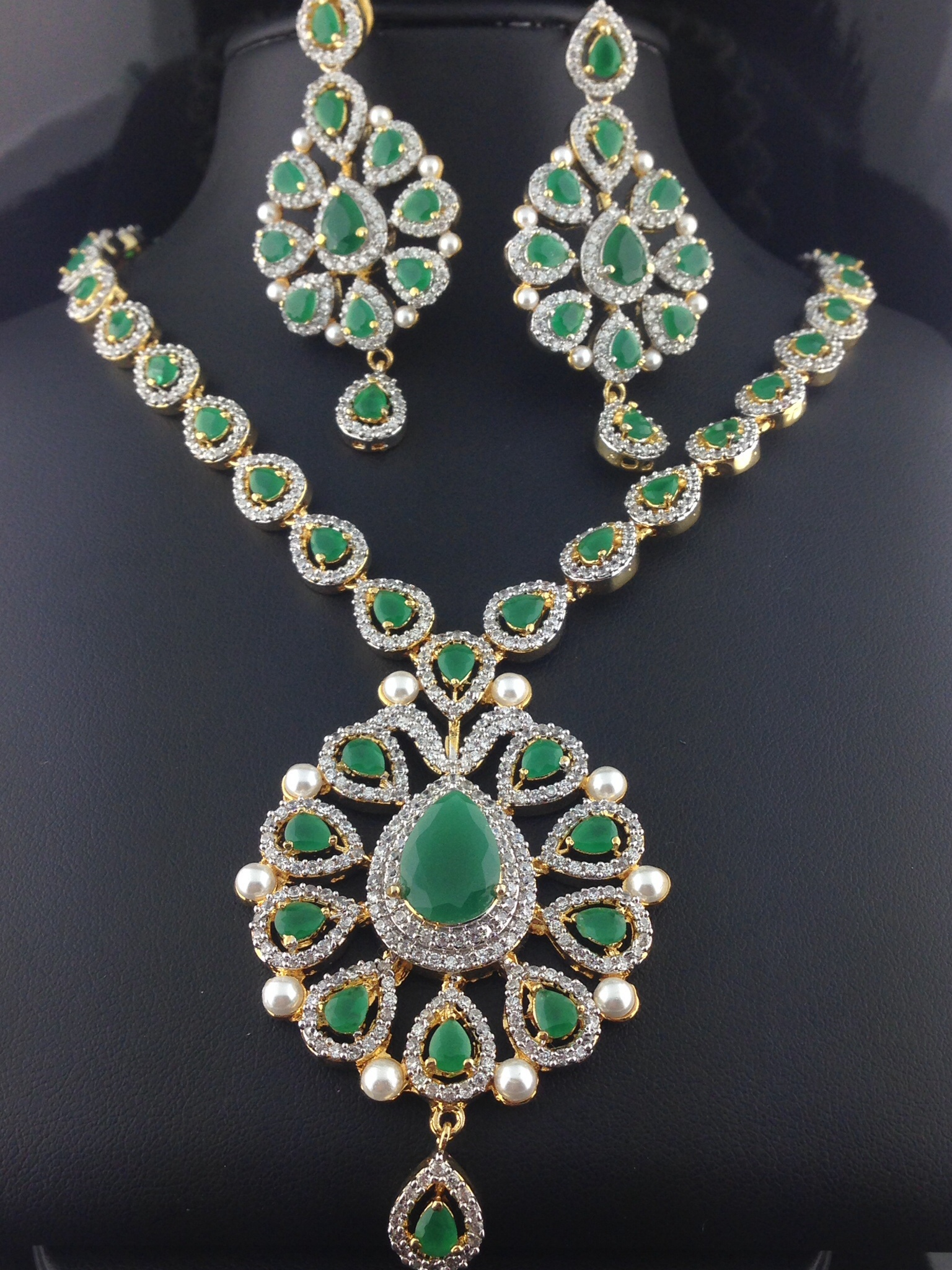 american diamond emerald necklace set indian kundan