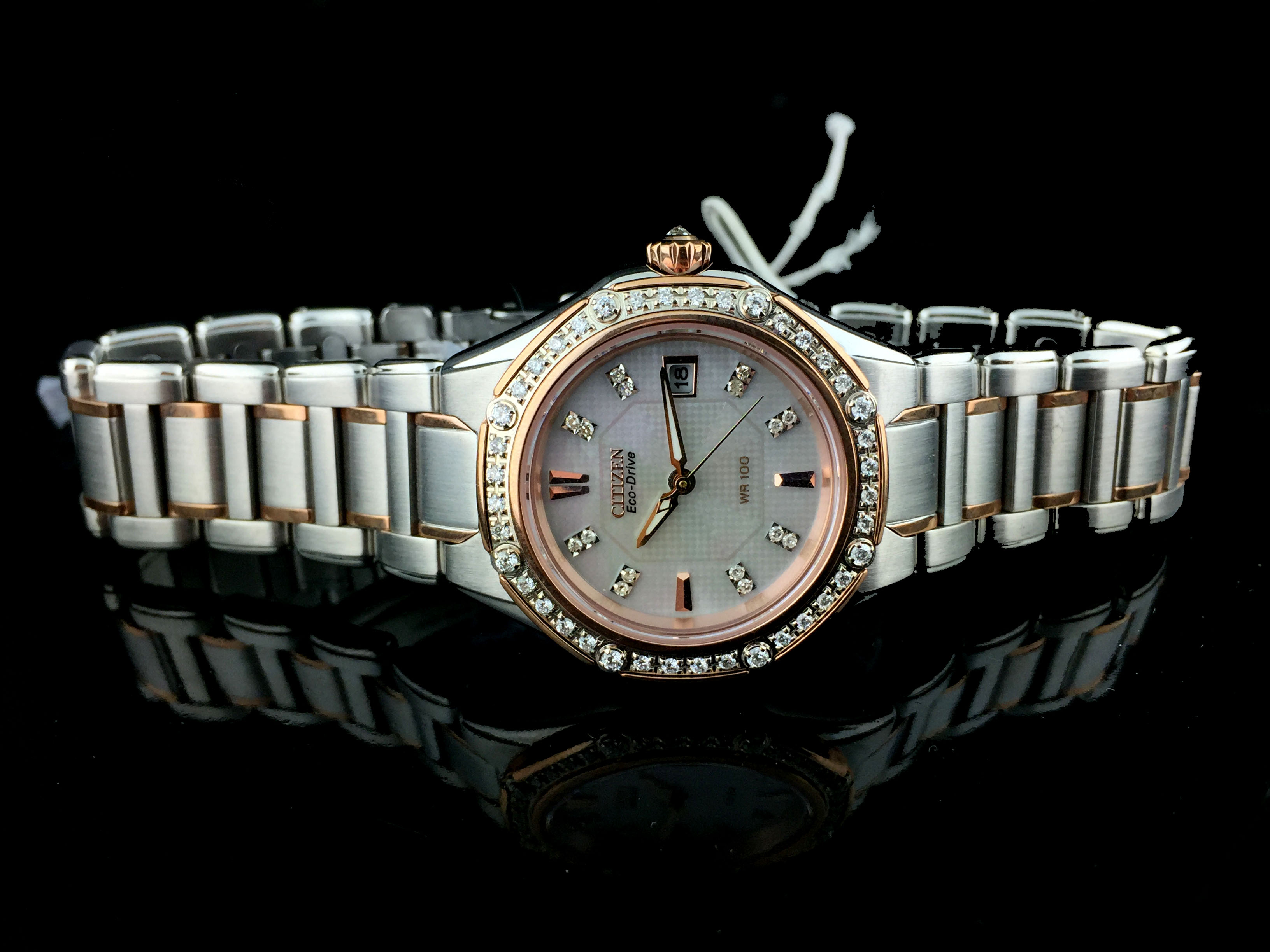 Citizen Eco Drive™ Stainless Steel Two Tone Womens Diamond Watch EW2096-57D  E011-S067294 081070084 f8c18d3520
