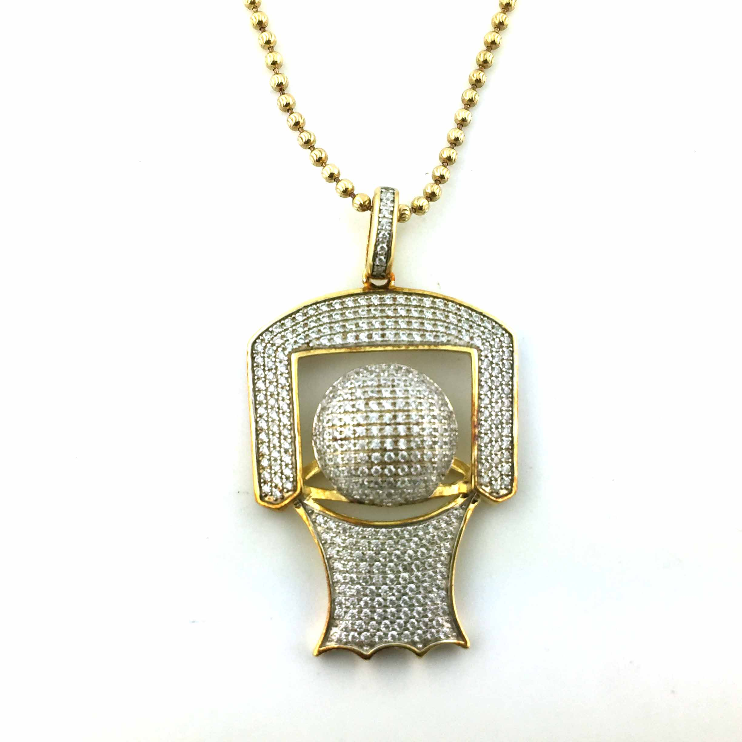 925 Yellow Gold Finish Basketball CZ Pendant With Free 24 Inches Necklace