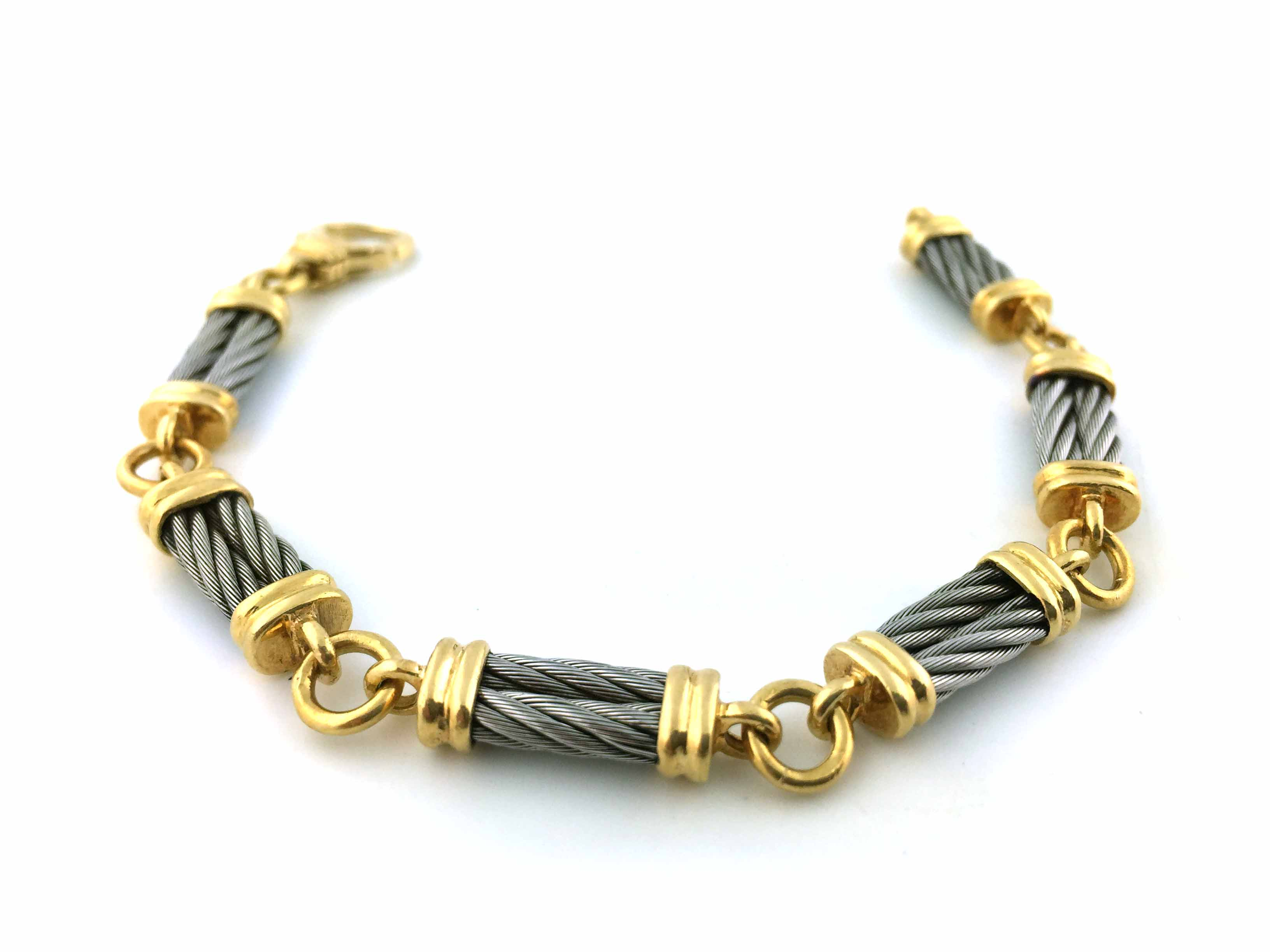18K Yellow Gold and Steel Bracelet