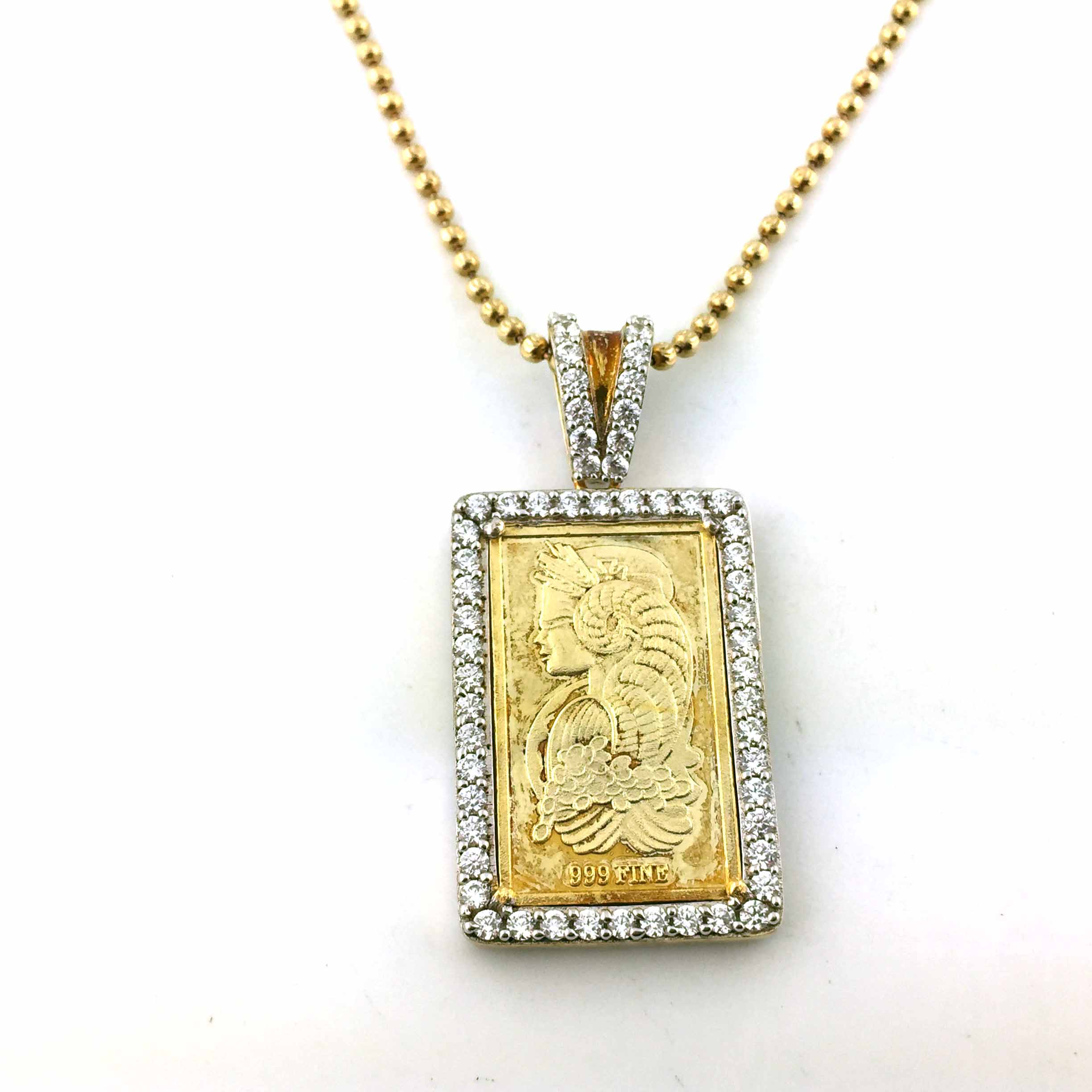 925 Yellow Gold Finish Pamp Sussie CZ Pendant With Free 24 Inches Necklace