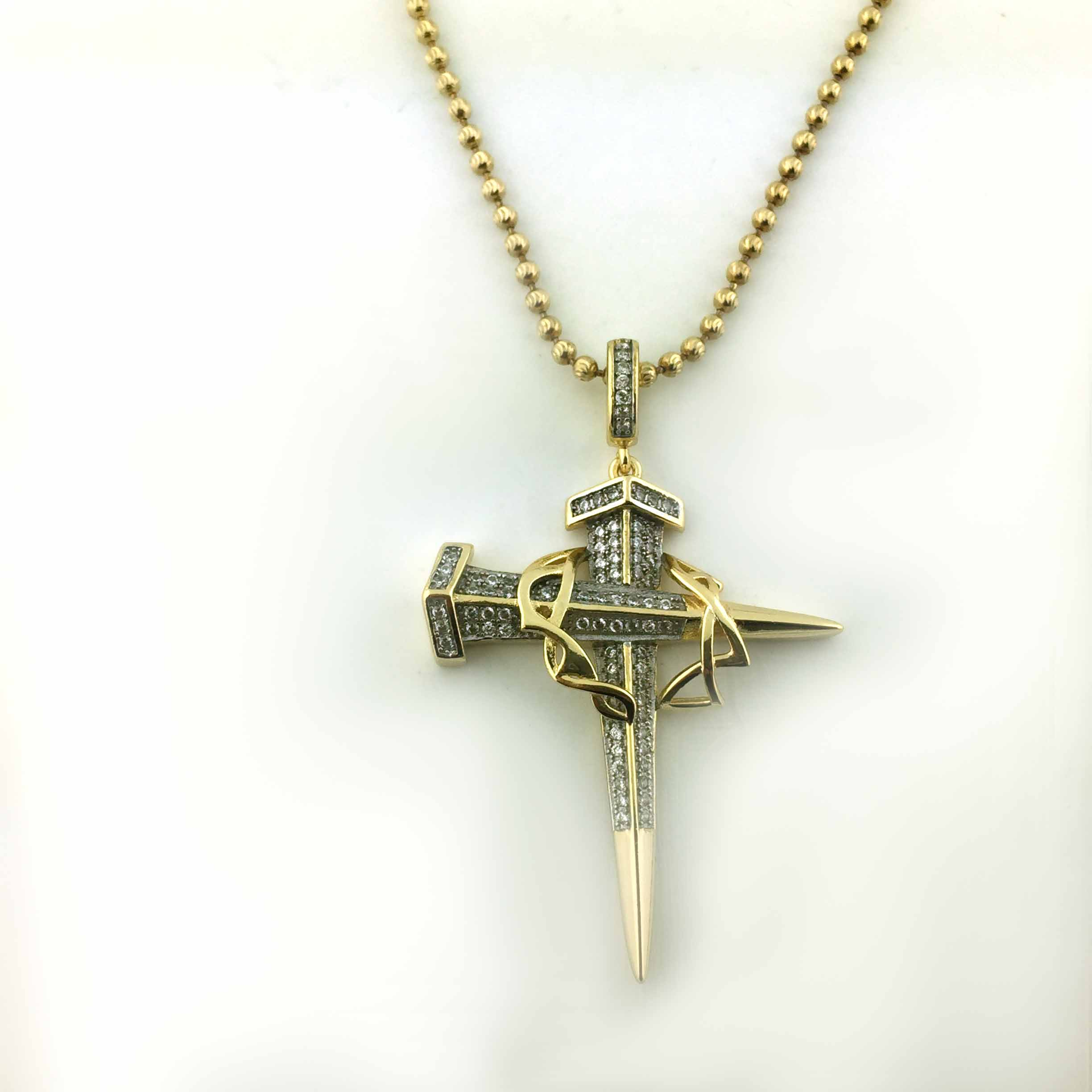 925 Yellow Gold Finish Jesus Cross CZ Pendant With Free 24 Inches Necklace