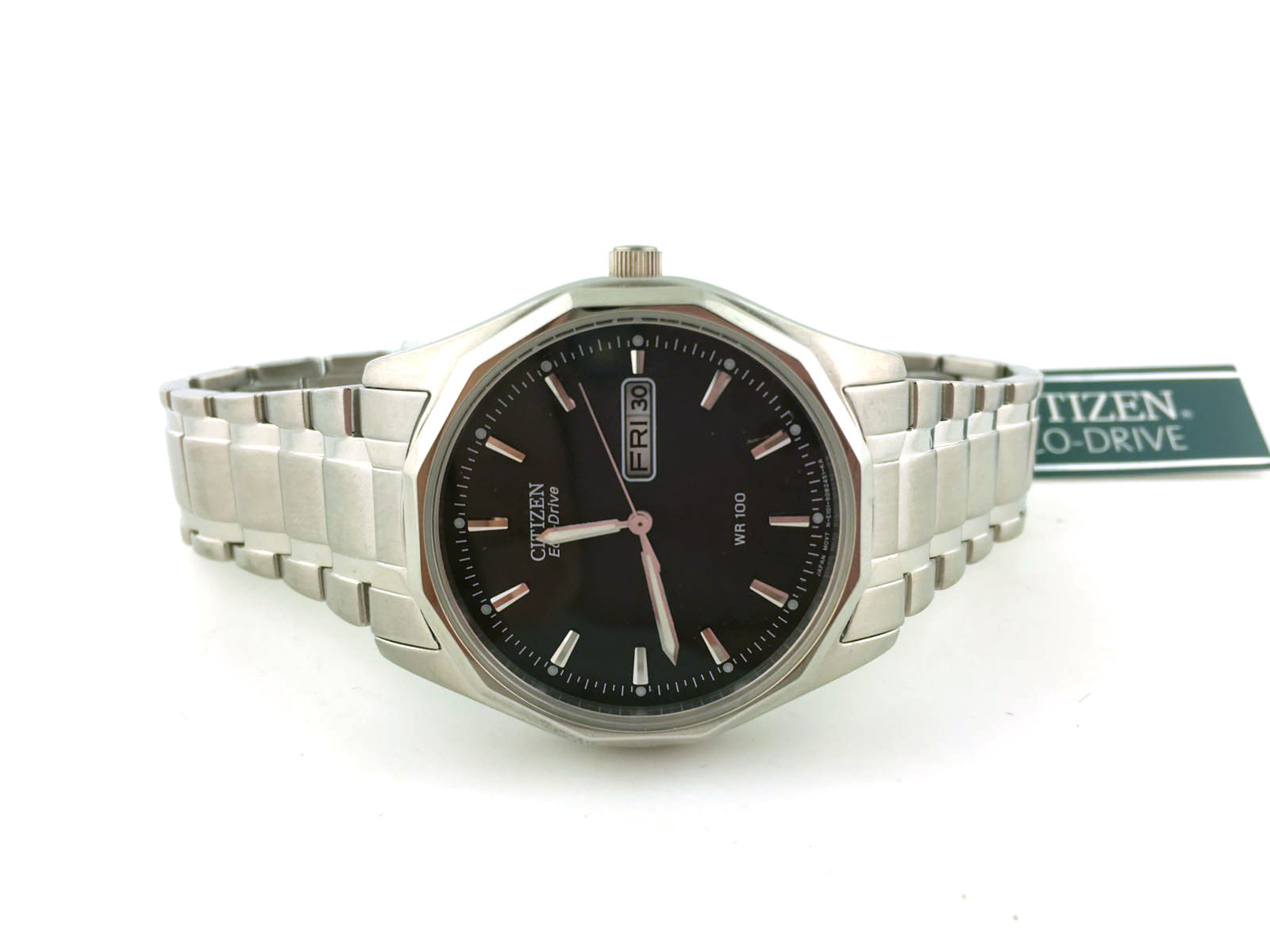 Mens Citizen Eco-Drive Stainless Casual Dress Watch with Day Date BM8430-59E