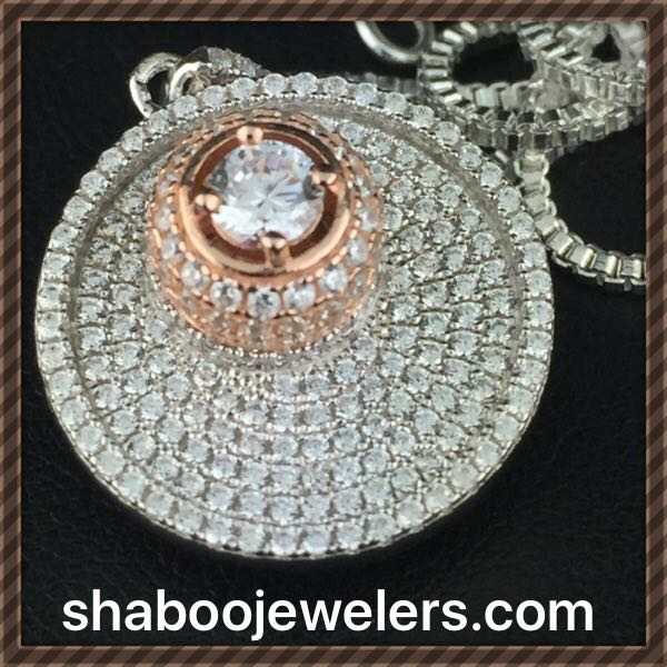 Custom Silver Womens Pendant with Swarovski