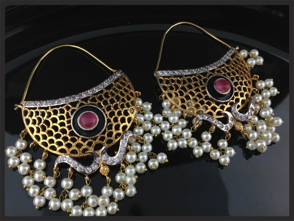 Multi Pearl Chand Bali Designer Earrings Indian Kundan Islamic
