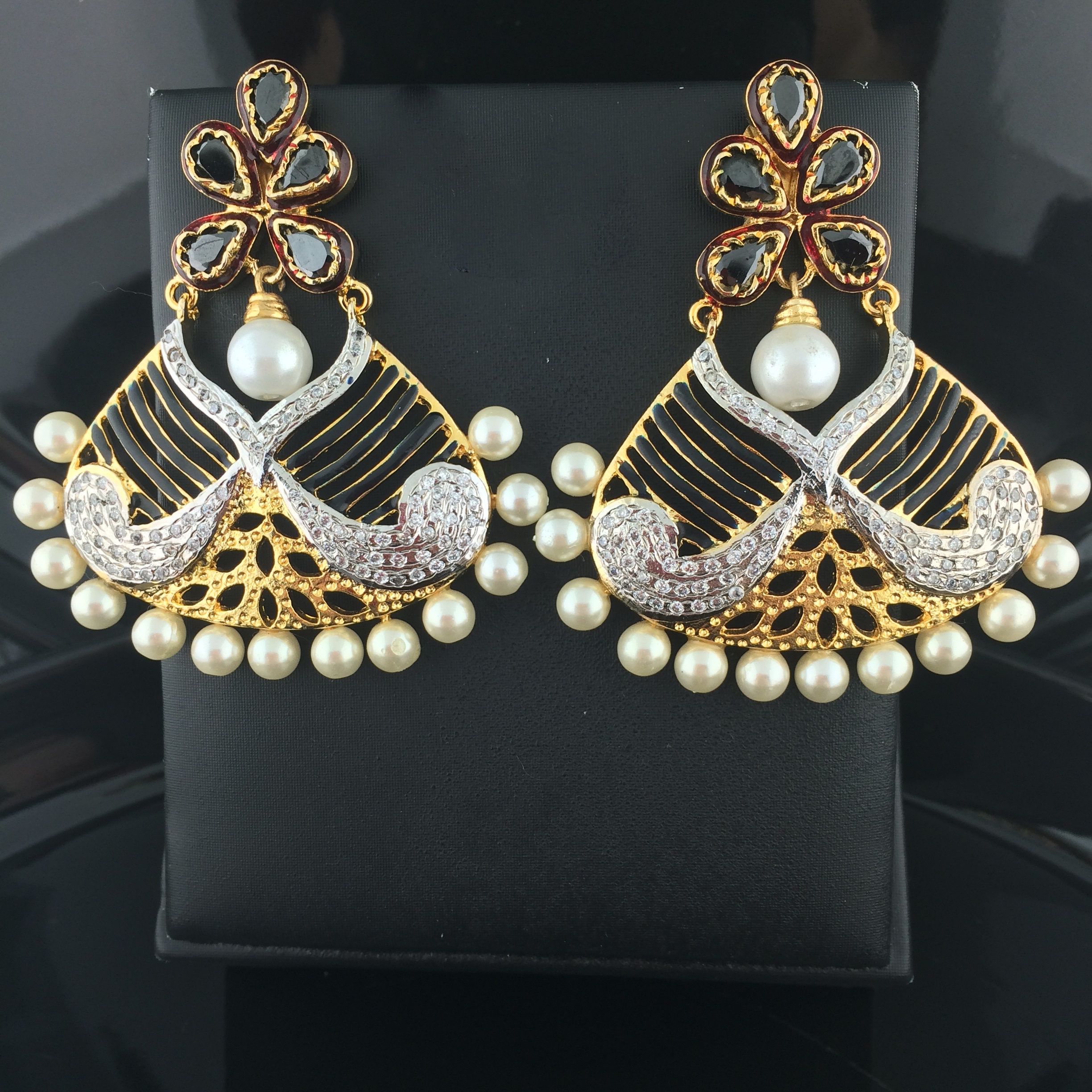 earrings fusion vilandi bkp kundan american art diamond jewellery cat