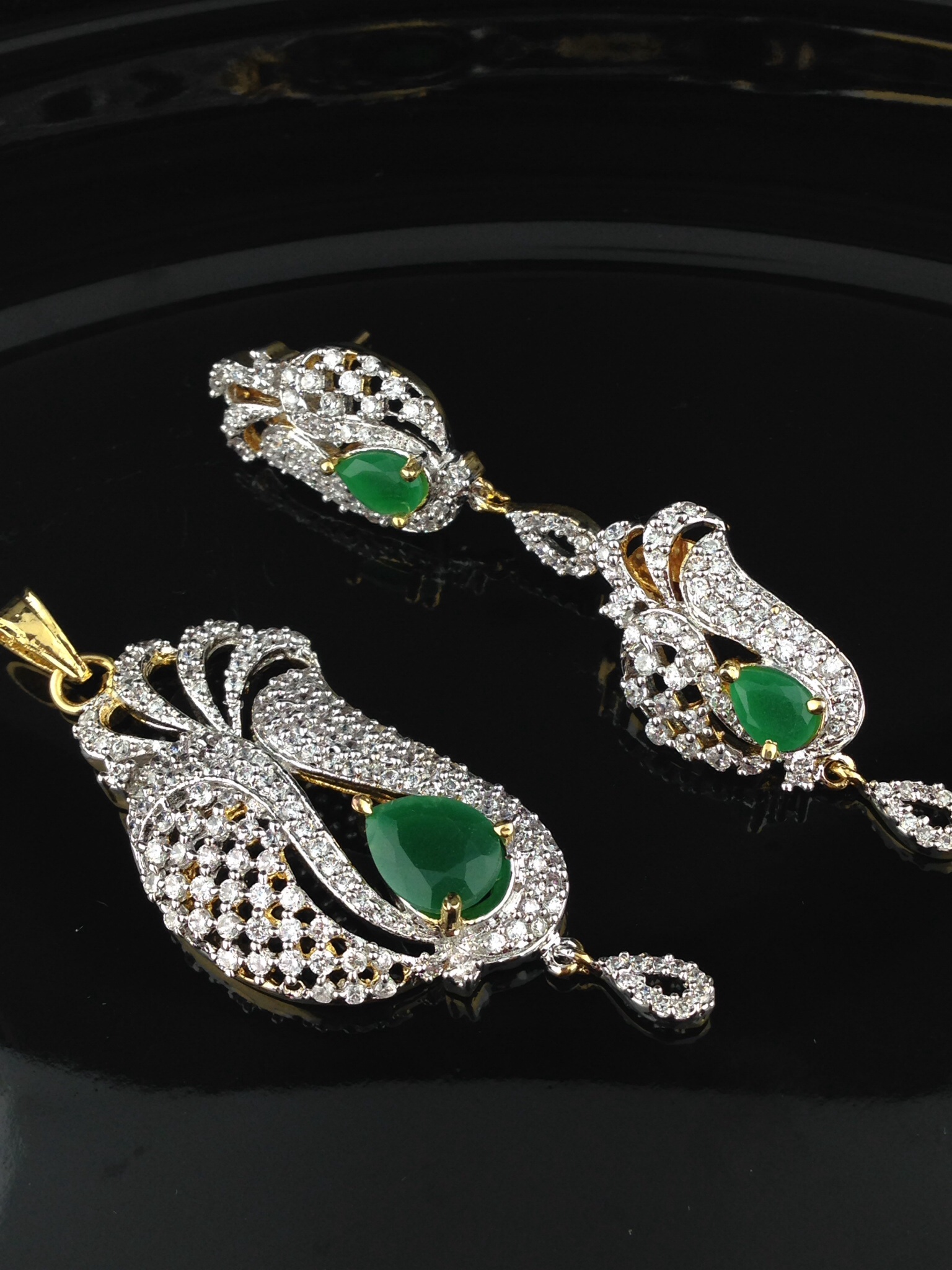 emeralds stunning with kundan diamond american p and indian online cz jewelry atlanta in gold set islamic pendant