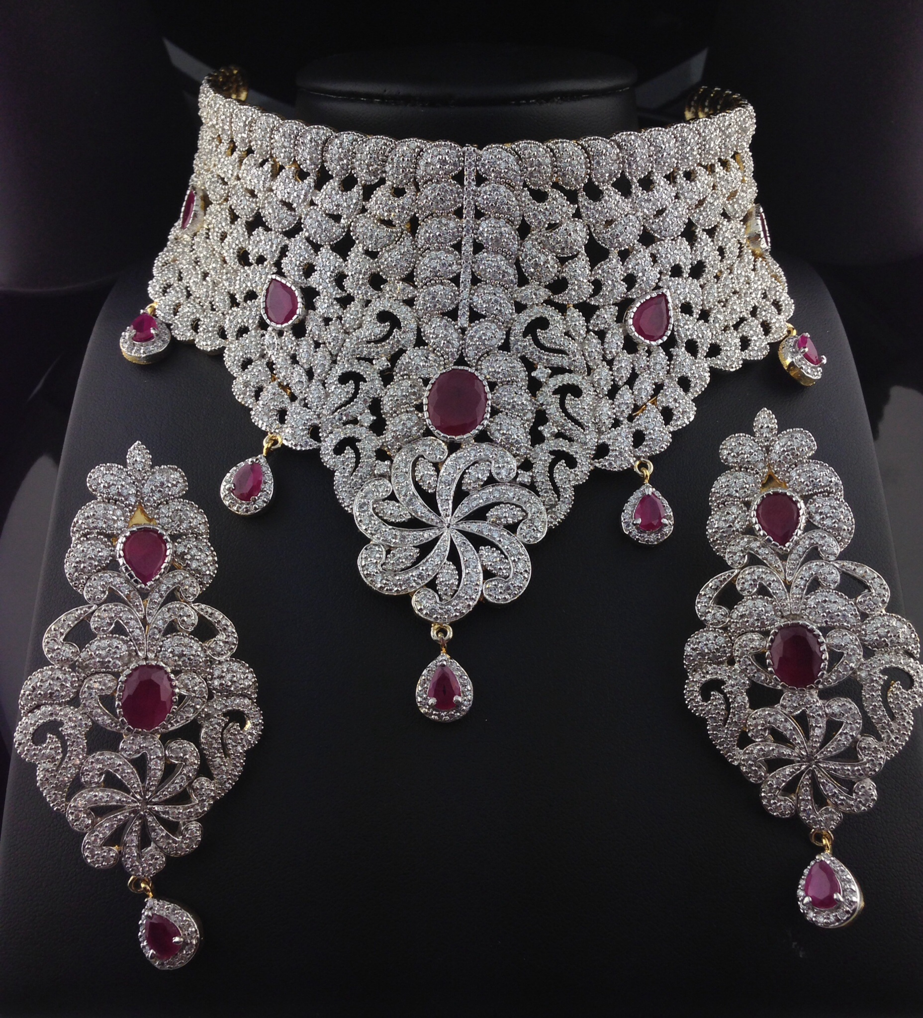 Stunning American Diamond Bridal Set With Rubies Indian Kundan Ic And Gold Jewelry In Atlanta Online