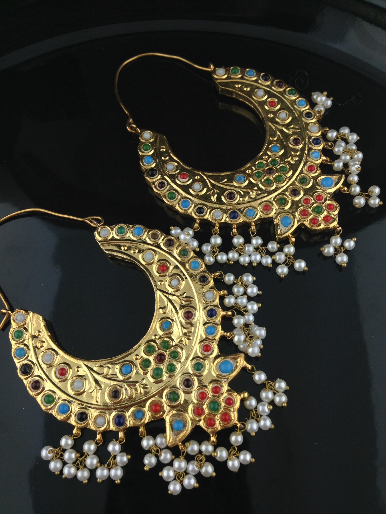 Kundan Multi Color Chand Bali Earrings Indian Ic And Gold Jewelry In Atlanta Online