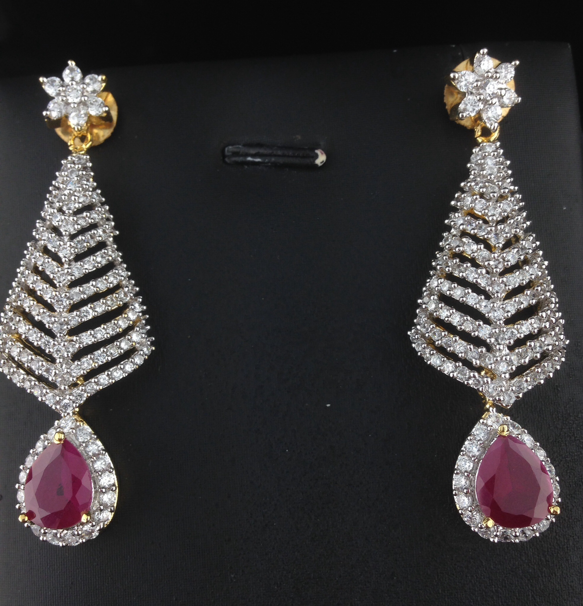 American Diamond Cz Long Earrings With Rubies Indian Kundan Ic And Gold Jewelry In Atlanta Online