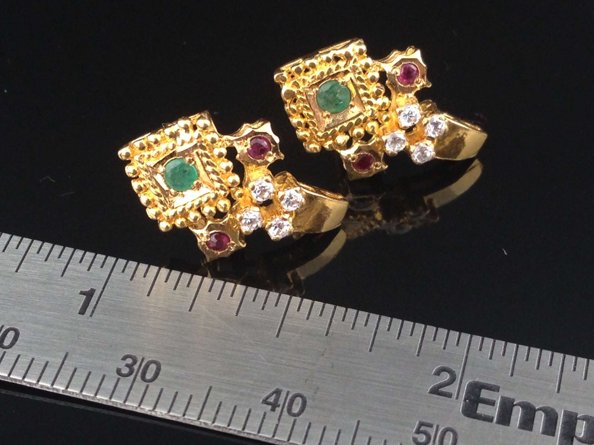 gold earrings products w textured yellow gm petal accents flowers four mm ball stud