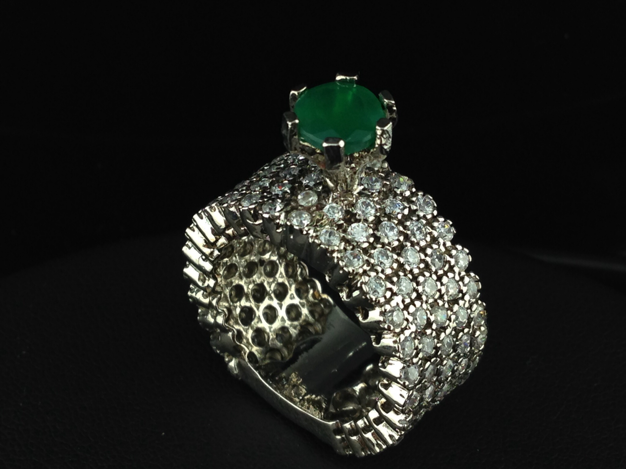 Sterling Sliver Emerald Ring, Indian, Kundan, Islamic, and Gold ...