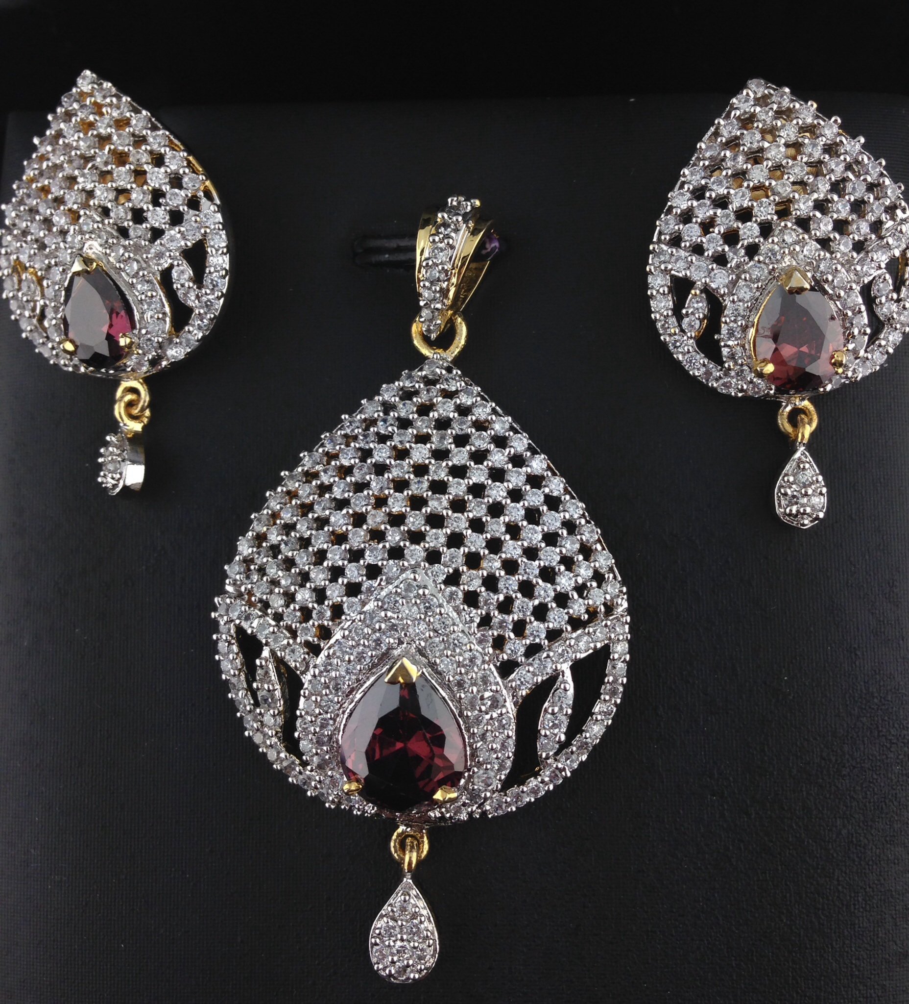 American Diamond Pendant Set With Pink Sapphire Indian