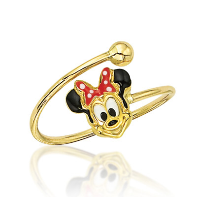 FuFoo Child s Enamel Minnie Mouse Adjustable Ring in 14K Gold